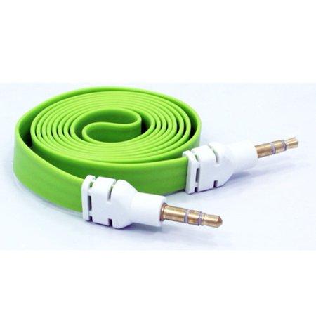 Green Flat Aux Cable Car Stereo Wire Compatible With Xiaomi Redmi Note 6 Pro 5 - ZTE ZPad 8, ZMax Pro Z981 Champ, Warp 7, Tempo X, Prestige 2 (N9136), Overture 3, Nubia 11, Max XL Duo LTE A3R