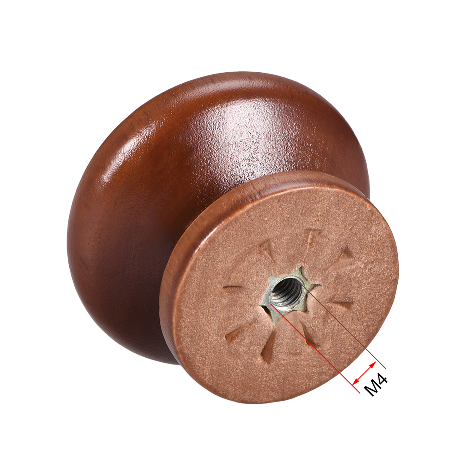 Cabinet Round Pull Knobs 35mm Dia Bedroom Kitchen Dark Red Elm Wood 5pcs - image 2 of 4