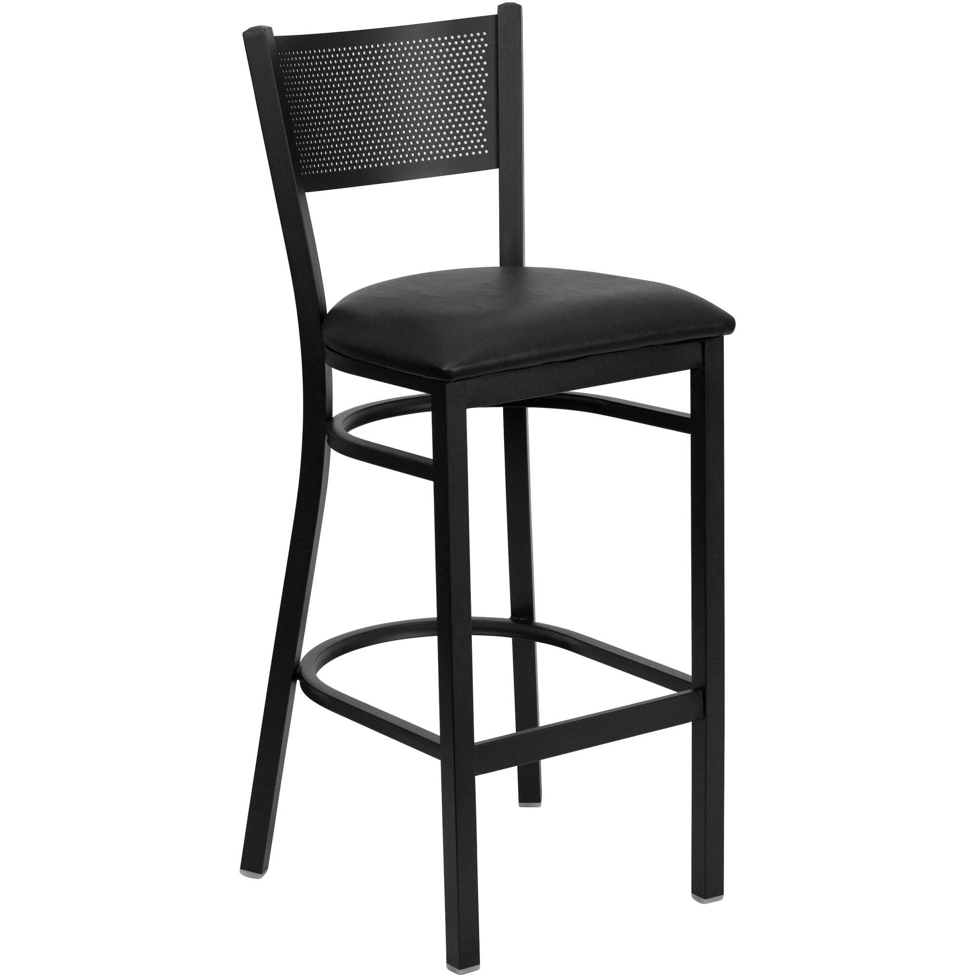Flash Furniture HERCULES Series Black Grid Back Metal Restaurant Barstool, Vinyl Seat, Multiple Colors