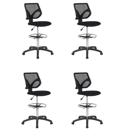 Cool Living Mesh Fixed Upright Adjustable Height Drafting Chair, Black (4 Pack)