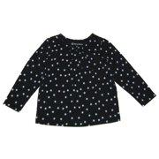 Little Girls Black White Star Pattern Long Sleeved Shirt 4-6X