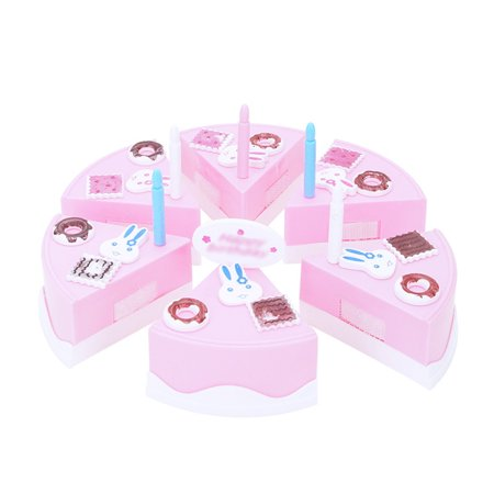 24Pcs Plastic Kitchen Cutting Toy Pretend Play Food Assortment Toy Set Birthday Cake for Kids DIY Style:Pink - image 5 de 6