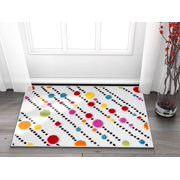 """Well Woven Small Rug Mat Doormat Modern Kids Room Kitchen Rug Dandy Dots Stripes Ivory 1'8"""" x 2'7"""" Accent Area Rug Entry Way Bright Carpet Bathroom Soft Durable"""