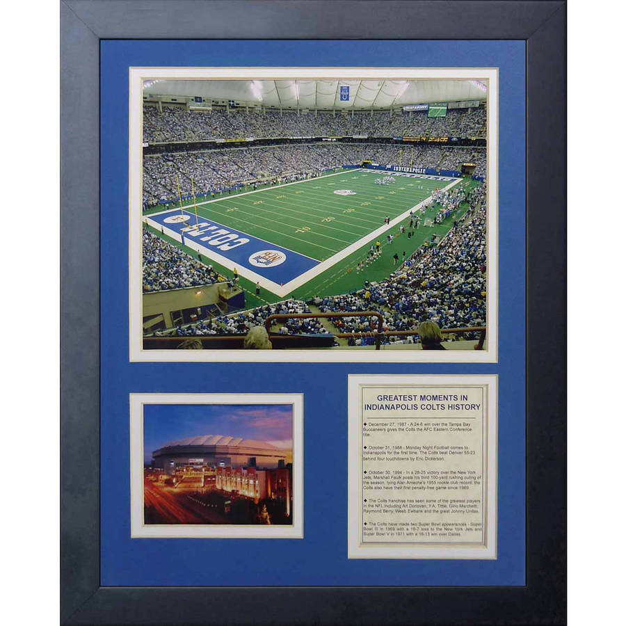"""Legends Never Die """"Indianapolis Colts RCA Dome"""" Framed Photo Collage, 11"""" x 14"""""""