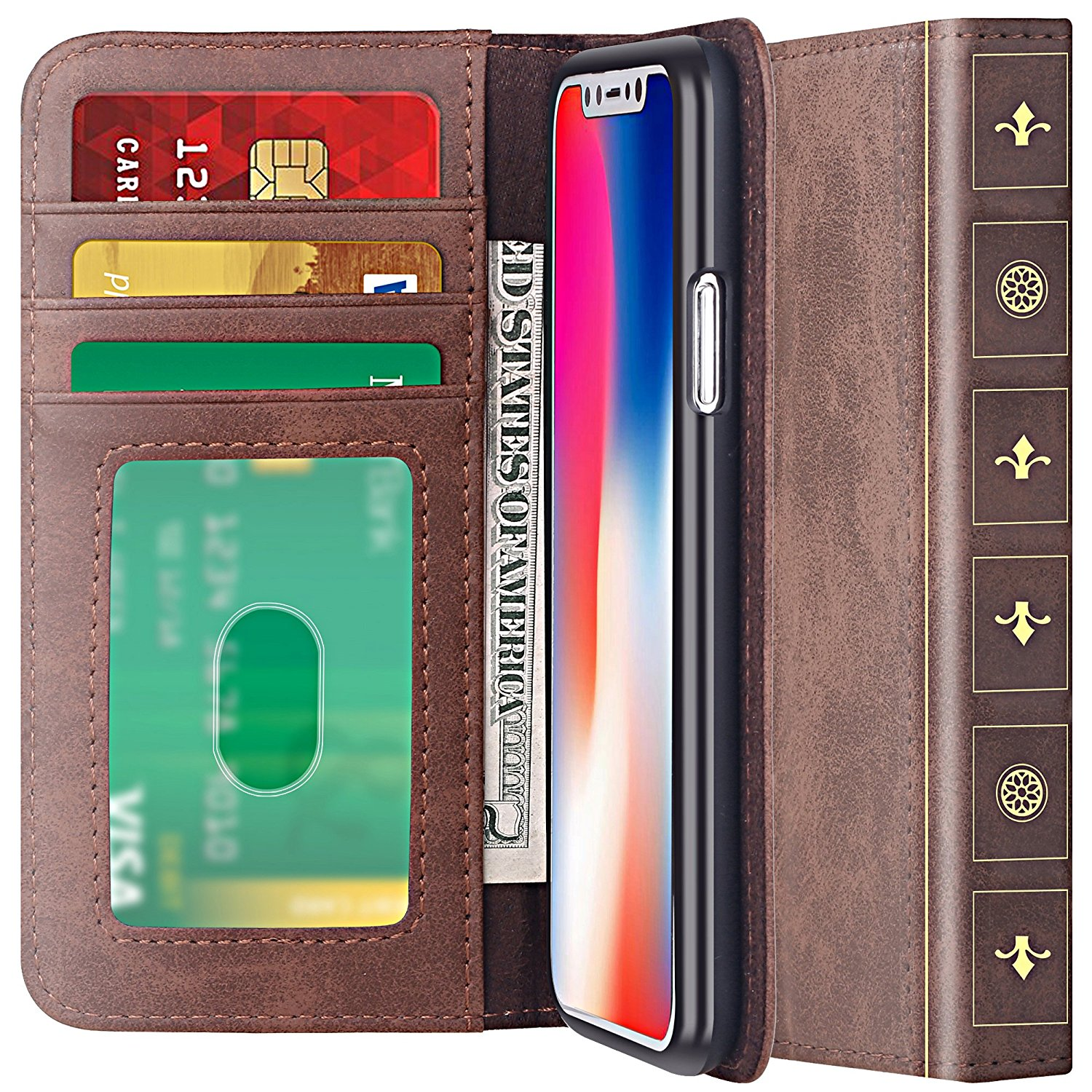 iPhone X Case [Cards Slot Pocket], ELV iPhone X Flip Case [PU Leather] Slim Folio [Book Style] Wallet Purse Protective [Pull tab] Case Cover for Apple iPhone X - BROWN
