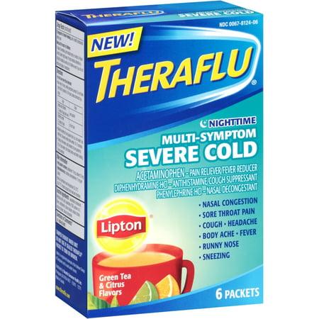 2 Pack - Theraflu Nighttime Multi Symptom Severe Cold, Lipton Green Tea & Citrus Flavors 6 (Best Cold Green Tea)