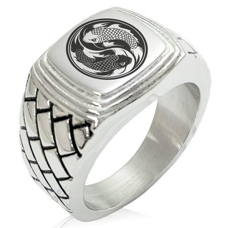 Stainless Steel Fish Ring (Stainless Steel Koi Fish Yin Yang Geometric Pattern Step-Down Biker Style Polished Ring)