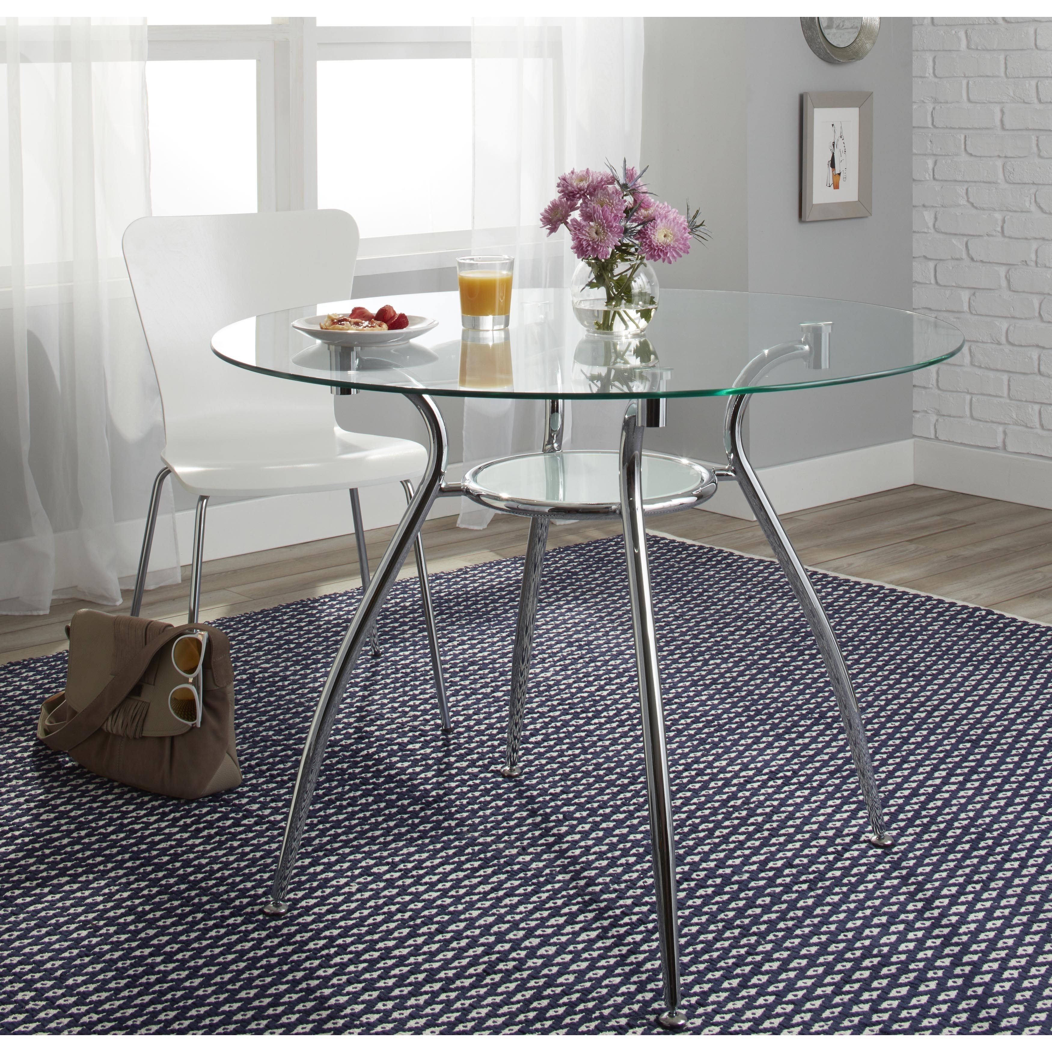 Porch & Den  Third Ward St. Paul Tempered Glass Chrome Round Dining Table - chome