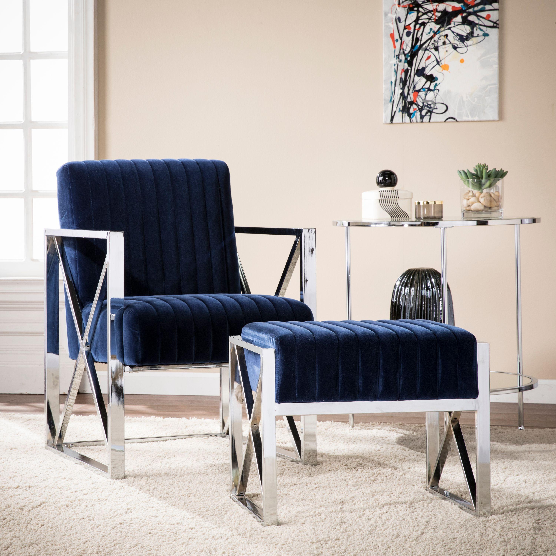 Rich Deep Blue Velveteen Accent Armchair Modern Glam Style ...