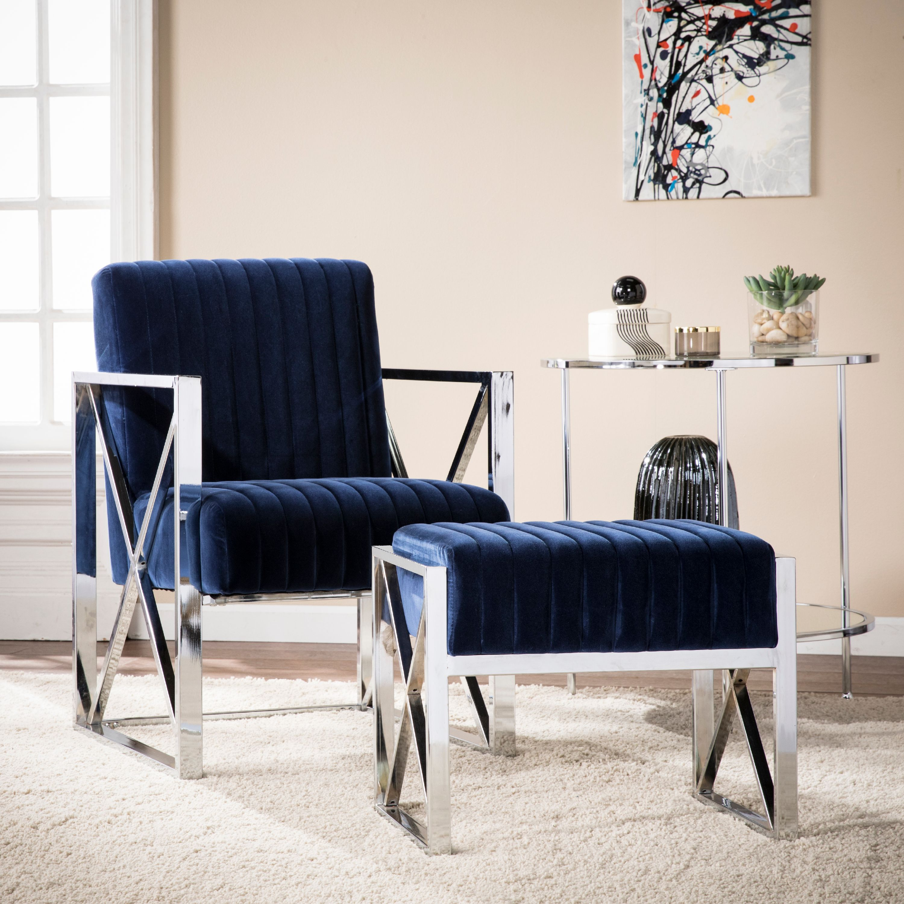 Southern Enterprises Ellison Velveteen Accent Chair, Glam Style, Deep Blue