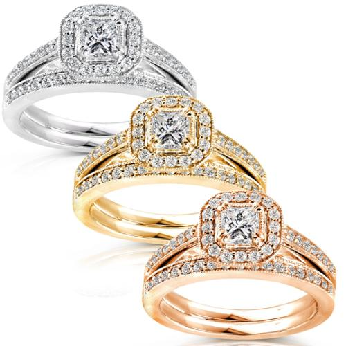 Annello 14k Gold 5/8ct TDW Princess Diamond Halo Bridal Ring Set White - Size 5