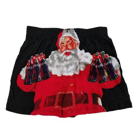 Coca-Cola Mens Black Santa Claus Enjoy Coke Christmas Holiday Boxer Shorts  - Size - Large (36-38)