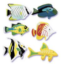 6-pc assorted Fish in Bloom Cake Cupcake Food Decoration Topper (1.25-1.5 inches)