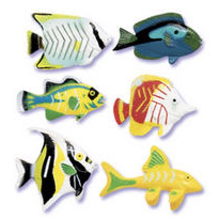 Fish Cake Decorations (6-pc assorted Fish in Bloom Cake Cupcake Food Decoration Topper (1.25-1.5)
