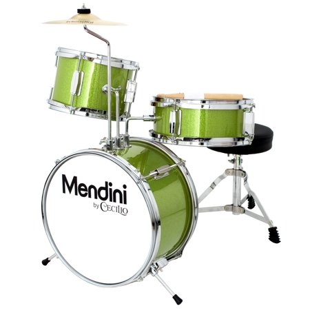 Mendini by Cecilio 13 Inch 3-Piece Kids / Junior Drum Set with Adjustable Throne, Cymbal, Pedal & Drumsticks, Metallic Green, MJDS-1-GN