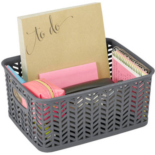 "Resin Herringbone Storage Tote, Small, 10"" x 8"" x 4"""