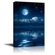 """wall26 - Canvas Prints Wall Art - Full Moon Gleaming Over Water 