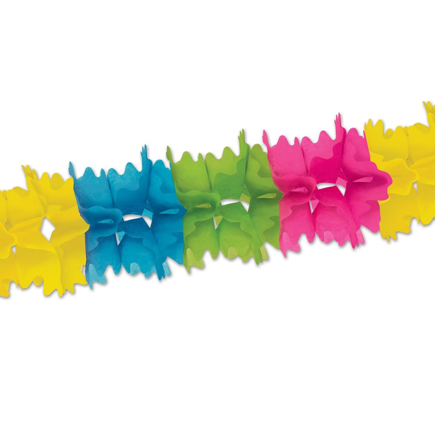 Club Pack of 12 Packaged Neon Rainbow Festive Pageant Garland Decorations 14.5'