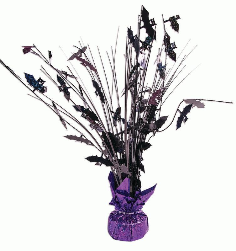 "Forum Bats Halloween Decor Balloon Weight 15"" Table Centerpiece, Black Purple"