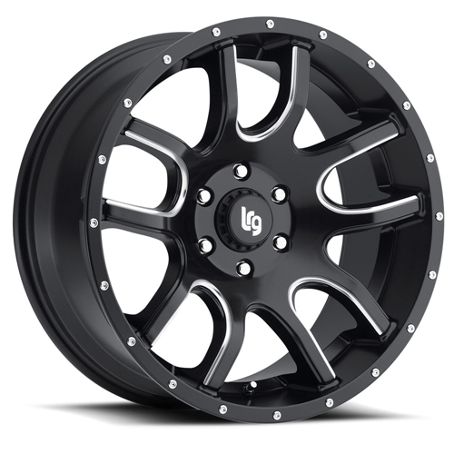"LRG Rims LRG108 Two Time Black Wheel with Milled Accents (20x9""/8x170mm)"