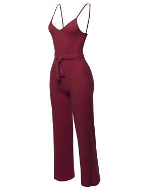 FashionOutfit Women's Solid Sleeveless Strap Sexy Romper Jumpsuit With Waist Belt