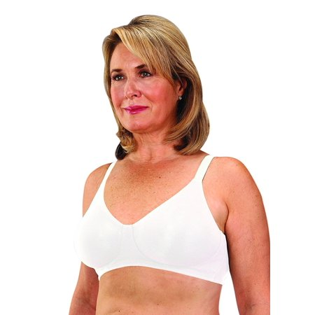 4aed344885 Classique - Classique Mastectomy Seamless Sleek Comfort Cotton Bra 38B White  - Walmart.com