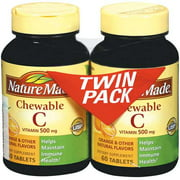 Nature Made Vitamin C Chewable 500 mg Twin Pack Tablets 60 ct Dietary Supplement 2 ct