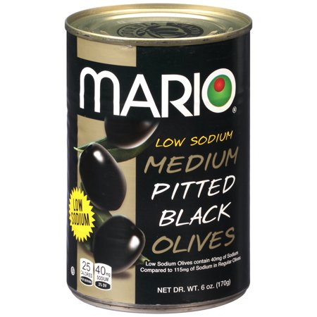 (6 Pack) Mario Black Olives, Medium Pitted, Low Sodium, 6 Oz