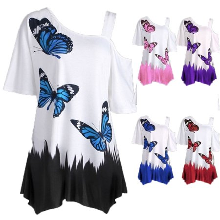 Womens Fashion Sexy Butterfly Print Loose Tunic T-shirt ()