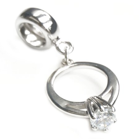 (Queenberry Sterling Silver Engagement Wedding Ring Clear Cubic Zirconia Dangle Bead Charm Fits Pandora)