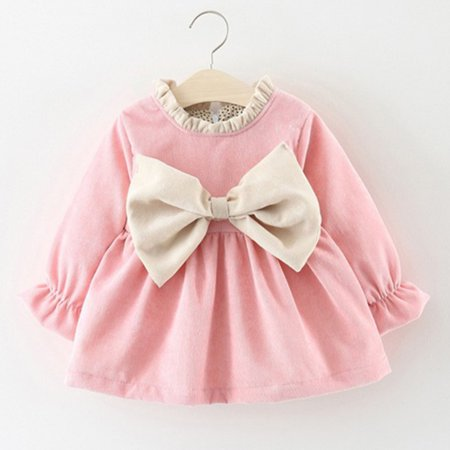 Cotton Newborn Kids Baby Girl Winter Clothes Bowknot Princess Party Pageant Dress - Winter Dress Girls