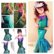 Kid Ariel Child Little Mermaid Set Girl Princess Dress Party Halloween Costume A
