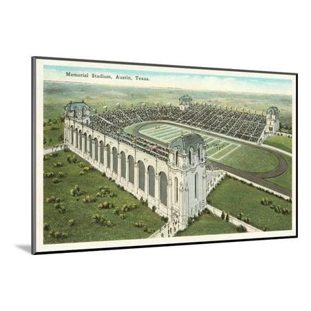 Memorial Stadium, Austin, Texas Wood Mounted Print Wall Art