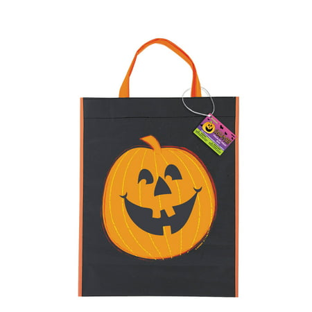 Large Plastic Pumpkin Halloween Favor Bag, 15 x 12 in, 1ct (Floor 15 Halloween Special)