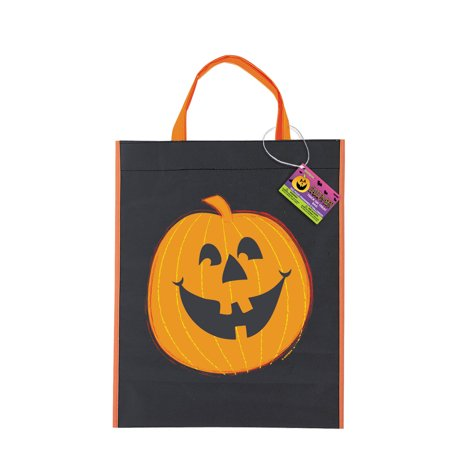 Large Plastic Pumpkin Halloween Favor Bag, 15 x 12 in, 1ct - Halloween Crafts Paper Bag Pumpkin