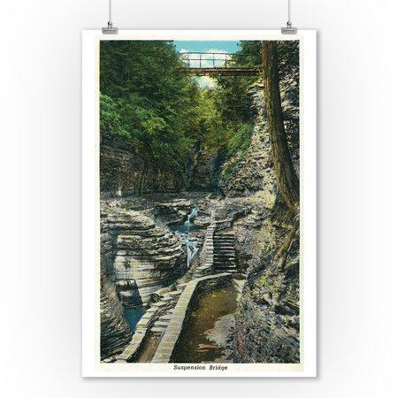 Watkins Glen, New York - View of a Suspension Bridge (9x12 Art Print, Wall Decor Travel Poster)