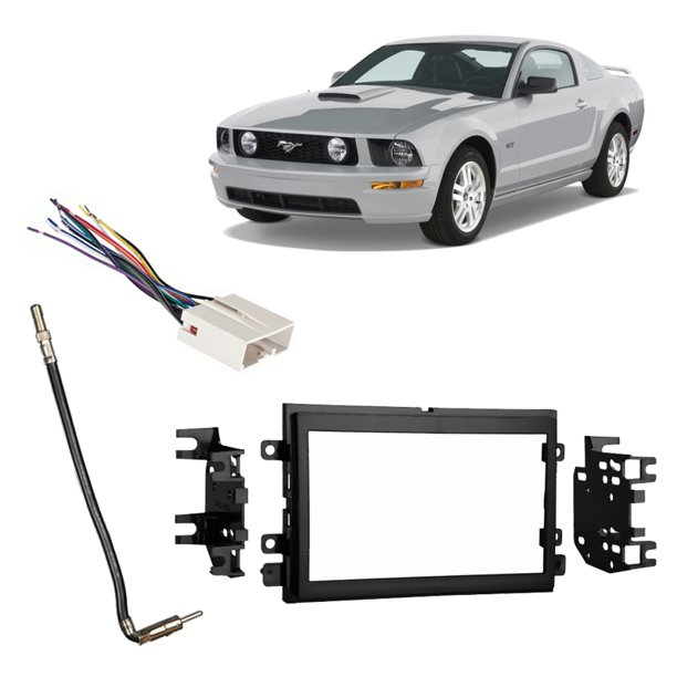 Fits Ford Mustang 2007-2008 Double DIN Stereo Harness Radio Install Dash Kit  - Walmart.com - Walmart.comWalmart