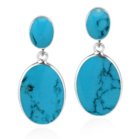 (Classy Double Oval Blue Turquoise Inlay Sterling Silver Drop Post Earrings)