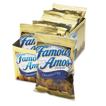 Kellogg's Famous Amos Cookies, Chocolate Chip, 2oz Snack Pack, 8/Box