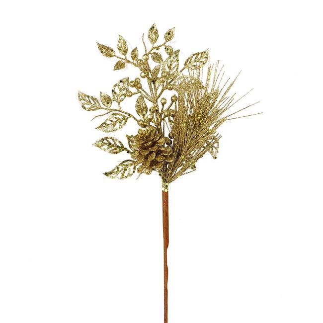 "Vickerman 555583 - 10"" Champagne Pinecone Glitter Leaf Pick (12 pack) (L185838)"