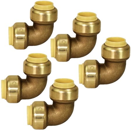 VQF9012-5 90 Degree Elbow Pipe Fittings Push to Connect Pex Copper, CPVC, 1/2 Inch, Brass Pack of 5, 5 Count