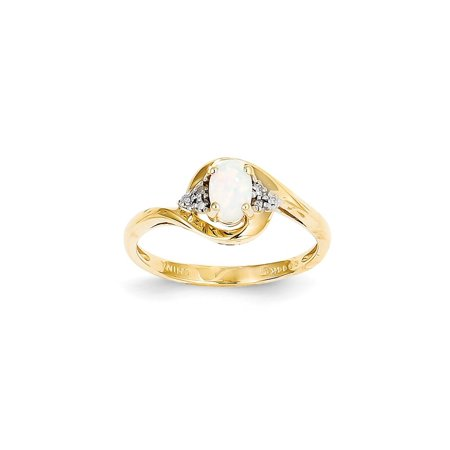 14k Yellow Gold Diamond Opal Band Ring Size 7.00 Stone Birthstone October Set (Gold Diamond Seashell)