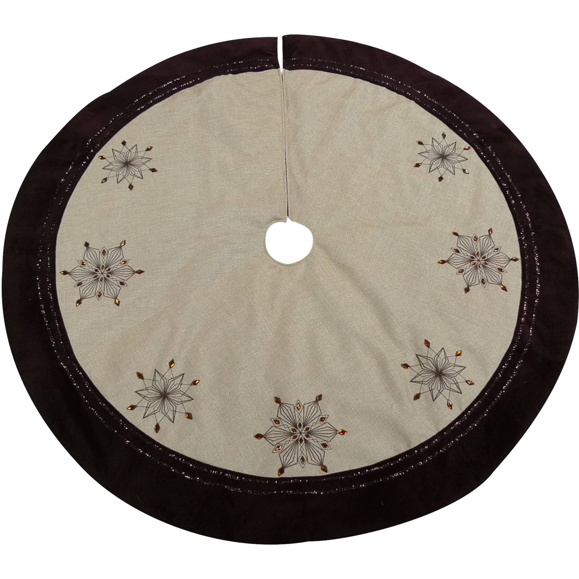 CENTRESKY CRAFTSSHANTOUCO.,LTD Holiday Time Christmas Decor 56 Brown Trim with Jewel Tree Skirt