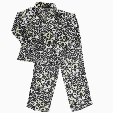 Womens Leopard Fleece Button Top Pajamas Cheetah Animal Print Sleep Set