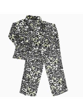 Product Image Womens Leopard Fleece Button Top Pajamas Cheetah Animal Print  Sleep Set 42c83cdd8ece