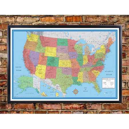 24x36 United States, USA, US Classic Elite Push Pin Travel Wall Map Black Framed (Framed Us Map)