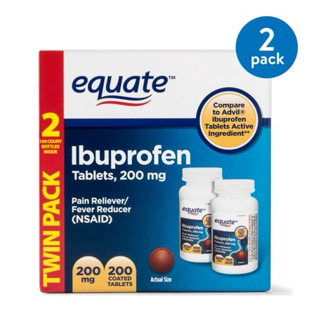 (2 Pack) Equate Pain Relief Ibuprofen Coated Tablets, 200 mg, 100 Ct, 2 Pk