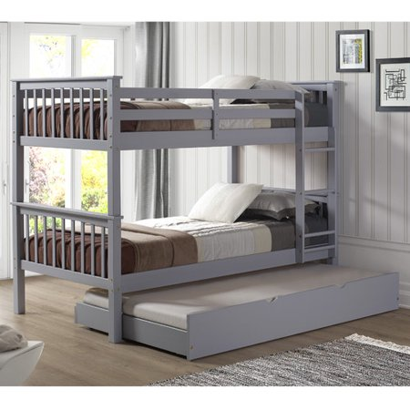 Walker Edison Solid Wood Twin Trundle Bed in Grey (Trundle Only)