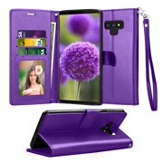 Tekcoo Wallet Cases for 2018 Samsung Galaxy S9 / S9+ / S9 Plus / Note 9, Tekcoo Premium PU Leather Folio Flip Cover Kickstand & Credit Slots Wrist Strap Protective Case -Purple