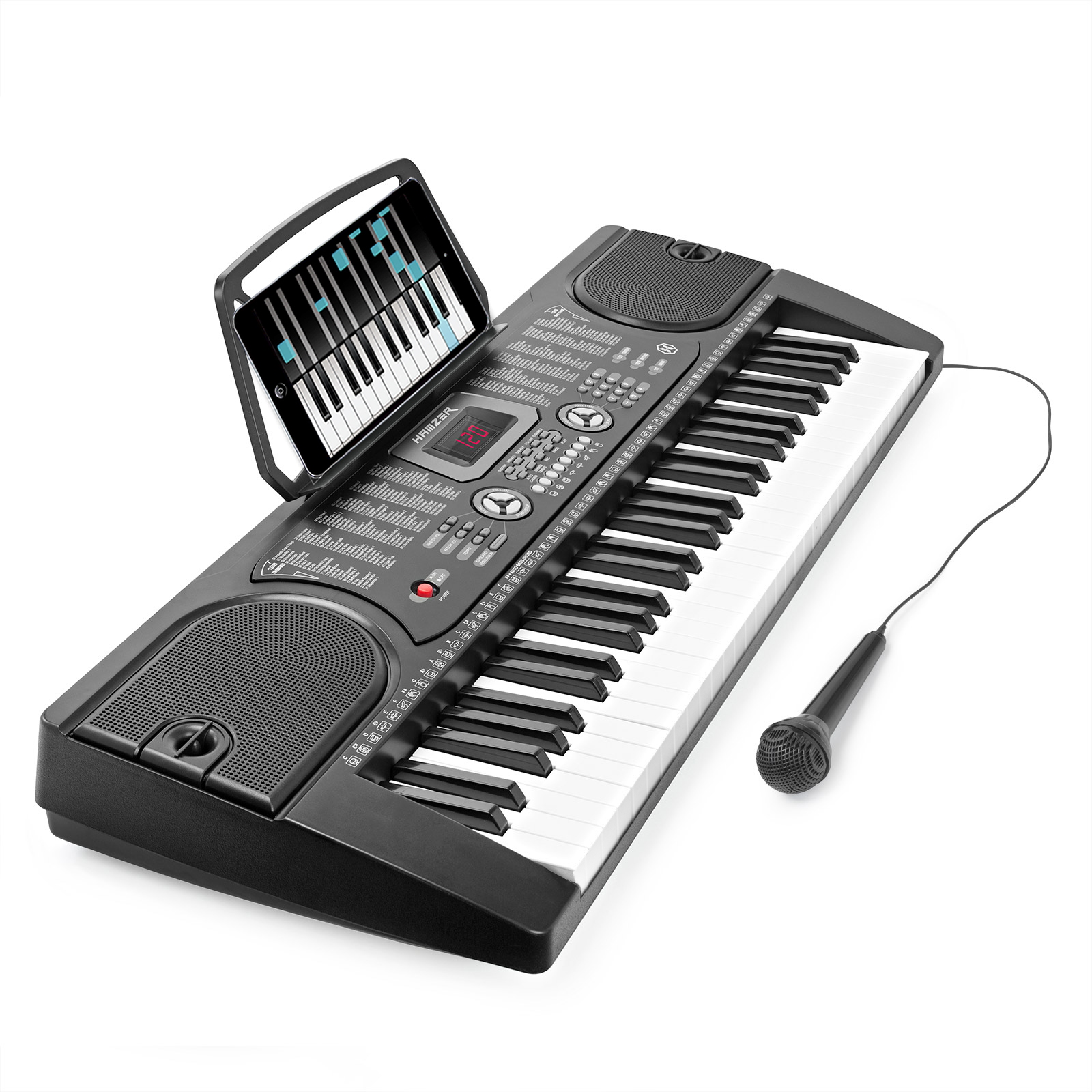 Hamzer 61-Key Digital Music Piano Keyboard - Portable Electronic Musical Instrument - with Microphone